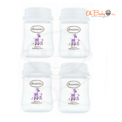 Autumnz Wide Neck B/Milk Storage Bottle (4 bottles) - Mummy's Milk Is Yummy