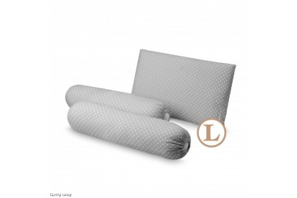 Comfy Baby - Bolster & Pillow Set Grey Dot (L)