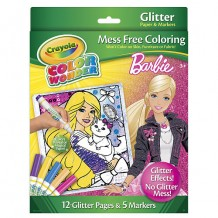 Crayola - Barbie 12-Gliter Pages & 5 Markers
