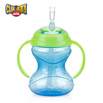 Nuby - Click It Flip-It Twin Handle Soft Flex Straw 240ml/8oz