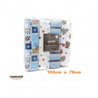Holabebe - Flannel Baby Blanket 4pcs Blue Rugby  (102cmx76cm)