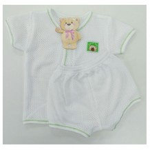 Sweetie Baby - Eyelet Short Sleeve and Short Pant for New Born (Green Line)