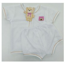 Sweetie Baby - Eyelet Short Sleeve and Short Pant for New Born (Brown Line)
