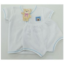 Sweetie Baby - Eyelet Short Sleeve and Short Pant for New Born (Blue Line)