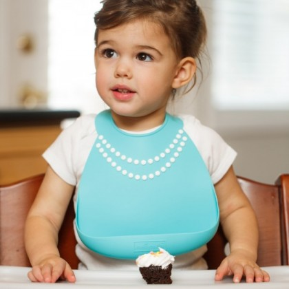 Make My Day - Silicone Baby Bib (Tiffany Blue with Pearls)