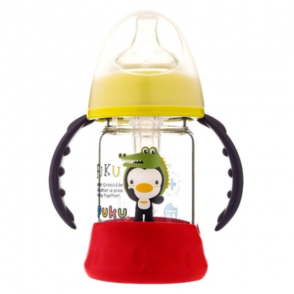 Puku - Glass Wide Neck With Anti- Colic Valve Training Bottle 120ml