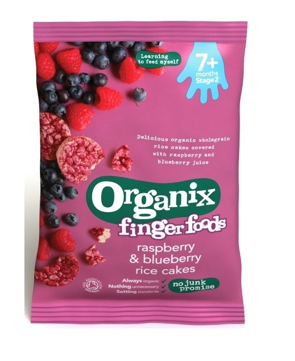 Organix Finger Food Raspberry Amp Blueberry Rice Cakes 7m