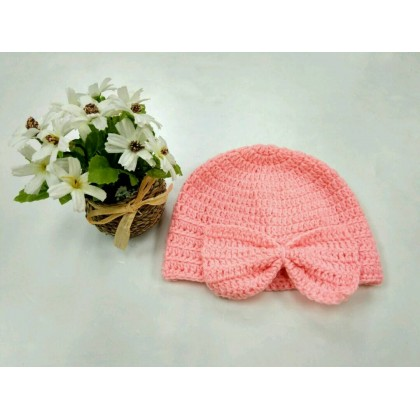 Handmade Crochet Baby Hat Ribbon (Peach)
