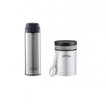 Thermos - ThermoCafe Stainless Steel Basic Living One Touch Tumble  0.48L + Vacuum Insulated Food Jar 350ml