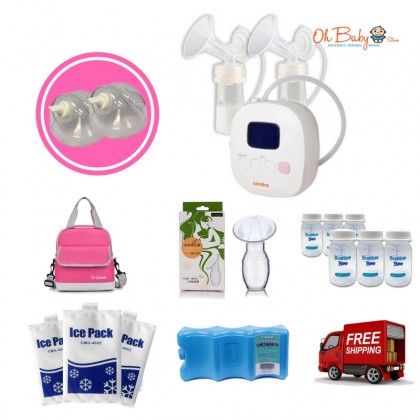 Cimilre F1 Rechargeable Double Breast Pump with Hand Free Breast shield Package