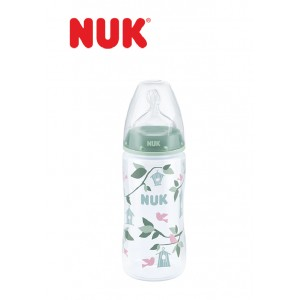 ​NUK - Premium Choice Wide Neck Silicone Teat Bottle PP Green Birds (10oz)
