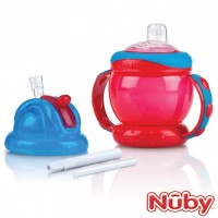 Nuby Flip And Sip Combo 240ml (4m+) Red