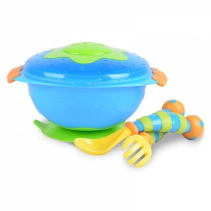 Nuby Wacky Ware Combo Set - Suction Bowl, Fork & Spoon Set (12m+) Blue