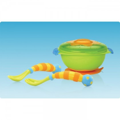 Nuby Wacky Ware Combo Set - Suction Bowl, Fork & Spoon Set (12m+) Grn