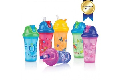 Nuby Clear Printed Cup With Flip It Straw Top 270ml