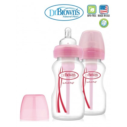 Dr.Brown's  Option Wide Neck Bottle Pink (270ml x 2)