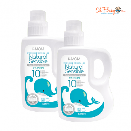 K Mom Laundry Detergent (1700ml x 2) free K-MOM Natural Purenes Baby Wipes 10s x 2