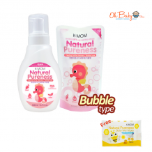 K-Mom Natural Pureness Baby Bottle Cleanser Bubble Type (500ml) + Refill Pack (500ml) FREE Natural Pureness Wet Wipes 10s