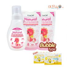 K-Mom Natural Pureness Baby Bottle Cleanser Bubble Type (500ml) + Refill Pack (500ml) x 2 FREE Natural Pureness Wet Wipes 10s x 2