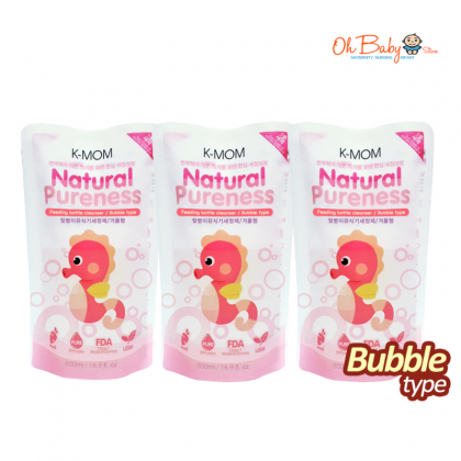 K Mom Natural Pureness Baby Bottle Cleanser Bubble Type (500ml) + Refill Pack (500ml) x 3 FREE Natural Pureness Wet Wipes 10s x 3