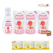 K-Mom Natural Pureness Baby Bottle Cleanser Bubble Type (500ml) + Refill Pack (500ml) x 3 FREE Natural Pureness Wet Wipes 10s x 3