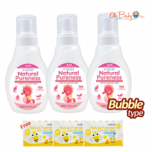 K-Mom Natural Pureness Baby Bottle Cleanser Bubble Type (500ml) x 3 FREE Natural Pureness Wet Wipes 10s x 3