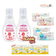 K-Mom Natural Pureness Baby Bottle Cleanser Bubble Type (500ml) x 2 + Natural Pureness Basic Wet Wipe 100's x 4 + FREE Natural Pureness Wet Wipes 10s x 3
