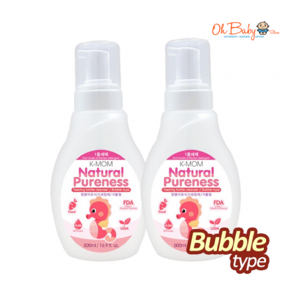 K-Mom Natural Pureness Baby Bottle Cleanser Bubble Type (500ml) x 2 + Refill Pack 500ml x6 + FREE Natural Pureness Basic Wet Wipe 100's