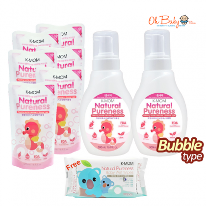 K Mom Natural Pureness Baby Bottle Cleanser Bubble Type (500ml) x 2 + Refill Pack 500ml x6 + FREE Natural Pureness Basic Wet Wipe 100's