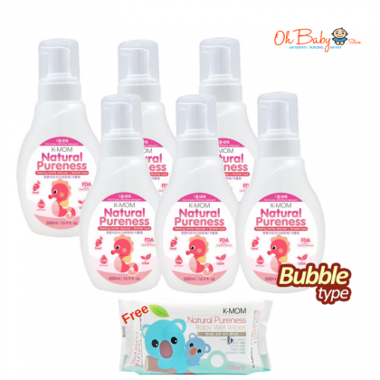 K Mom Natural Pureness Baby Bottle Cleanser Bubble Type (500ml) x 6  FREE Natural Pureness Basic Wet Wipe 100's