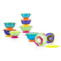 Nuby Stackable Suction Bowls With Lid (3pcs)