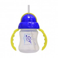 Lucky Baby Twin Handle Straw Cup 5oz /140ml Come With 2 Replacement Straw- Blue