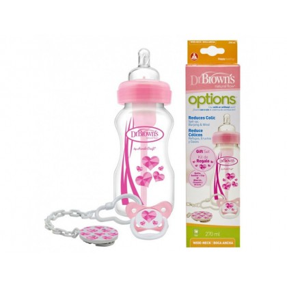 Dr. Brown's 9oz Wide Neck Option + Soother Gift Set (Pink)