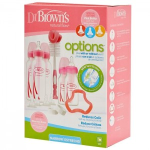 Dr Brown's Narrow Neck Options Newborn Gift Set (Pink)