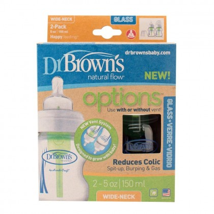 Dr. Brown's - 2 Pack 5oz/150ml Options Wide Neck Glass Bottle