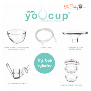 Youha Youcup Handsfree Milk Collection Cups [FREE Breast Milk Storage Bags 30\'s]