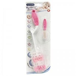 Lucky Baby Scratches Silicone Bottle Brush (Pink)