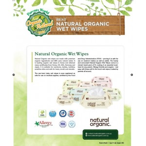 Natural Organic Premium Soothing PlainType Baby Wipes (70s x 4)