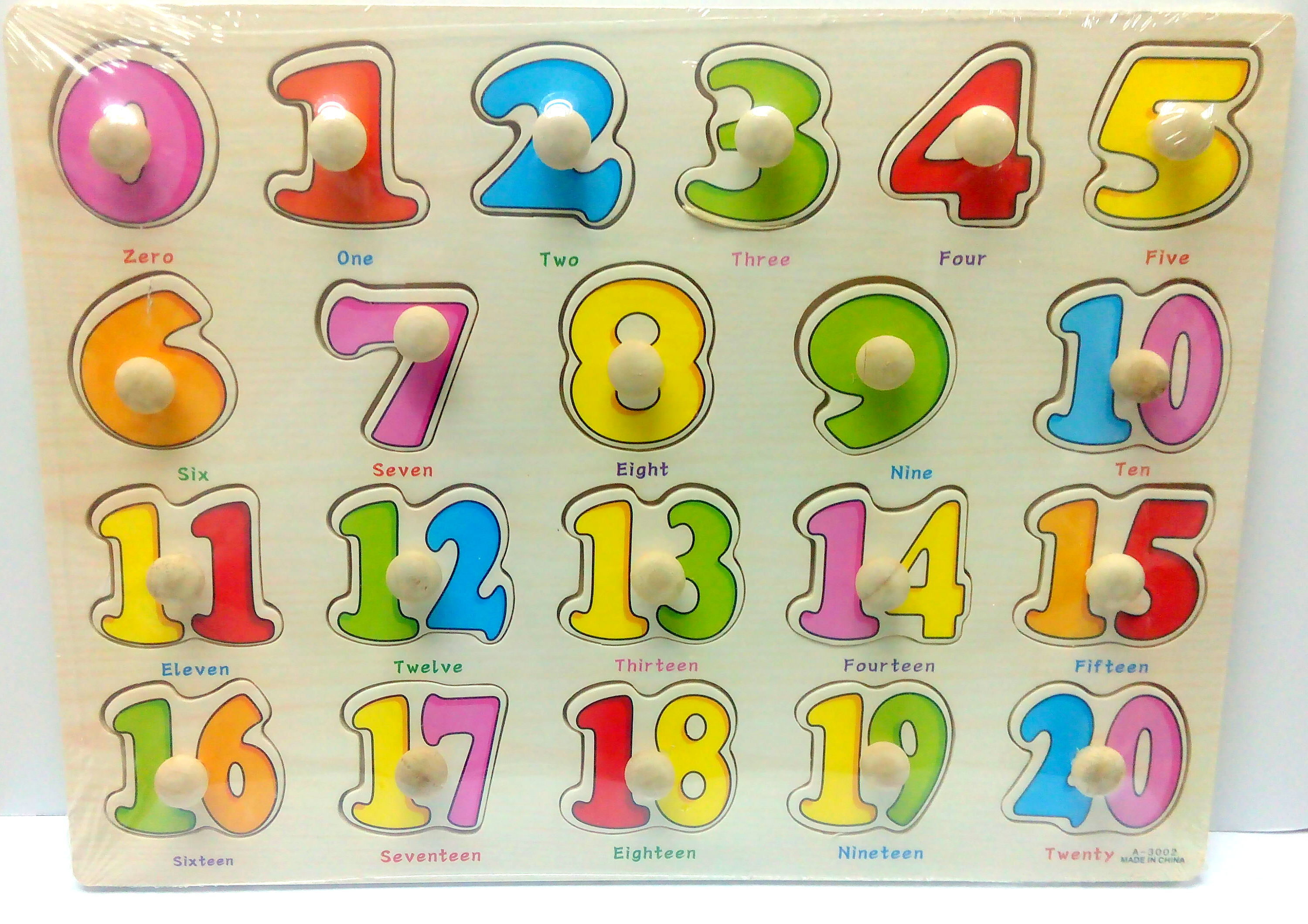 Wooden Education Knob Puzzle Number 0 20